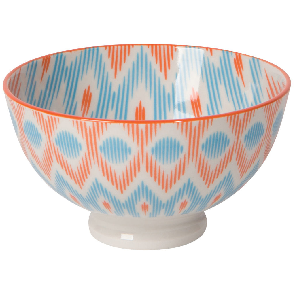Blue/Orange Ikat Stamped Bowl 4 Inch