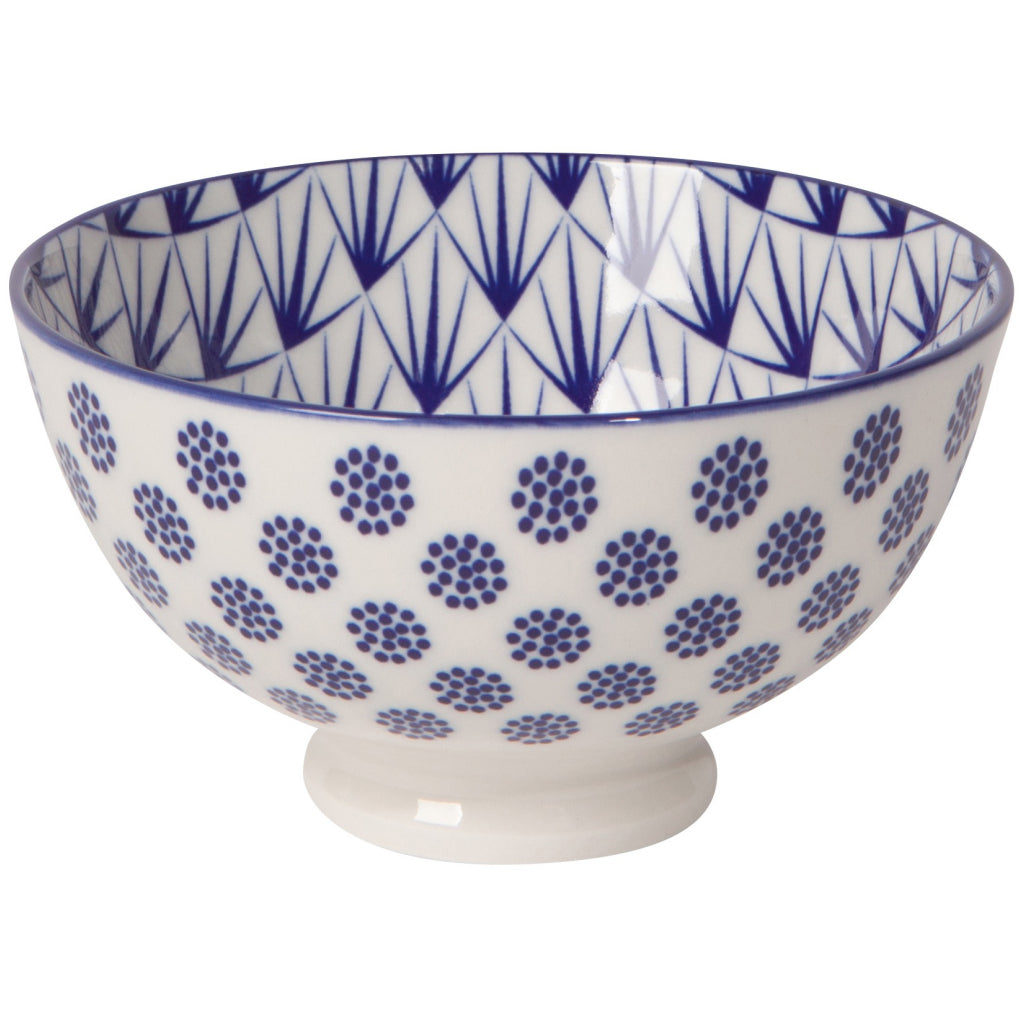 Blue Dots Stamped Bowl 4 Inch
