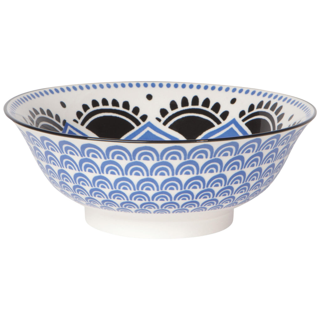 Blue Floral Stamped Bowl 8 inch