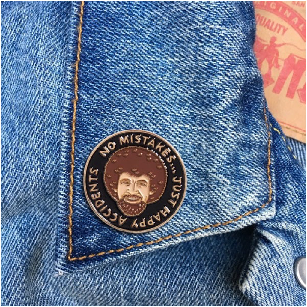Bob Ross Happy Accidents Enamel Pin Lifestyle
