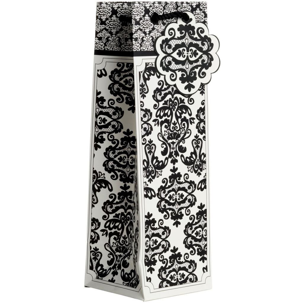 Bottle Tote Black Damask