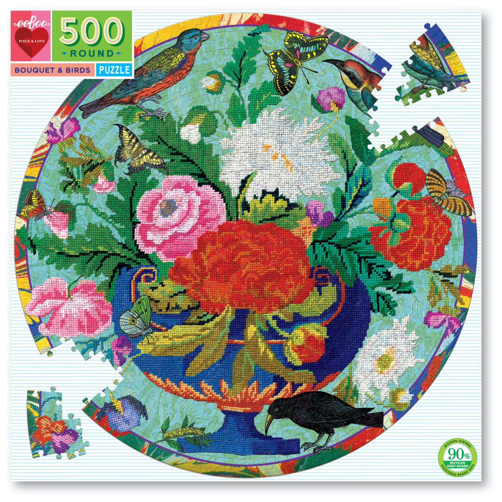 Bouquet And Birds 500 Piece Round Puzzle