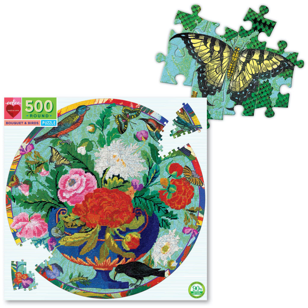 Bouquet And Birds 500 Piece Round Puzzle Detail