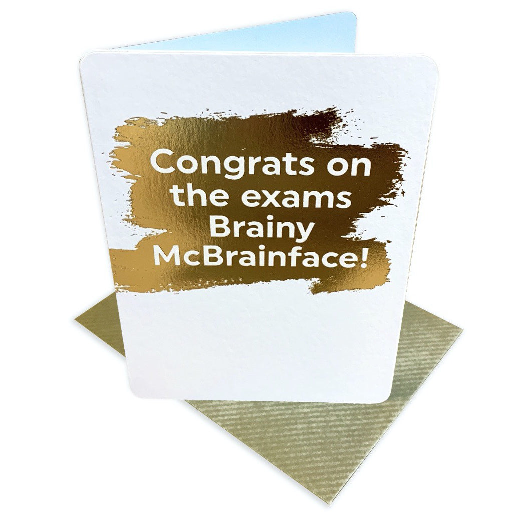 Brainy McBrainface Exam Congrats Card