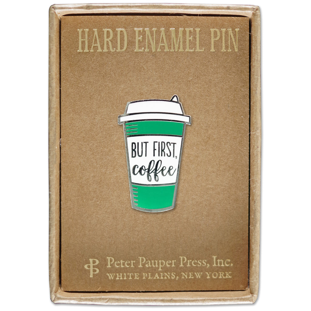 Packaging of But First Coffee Enamel Pin.