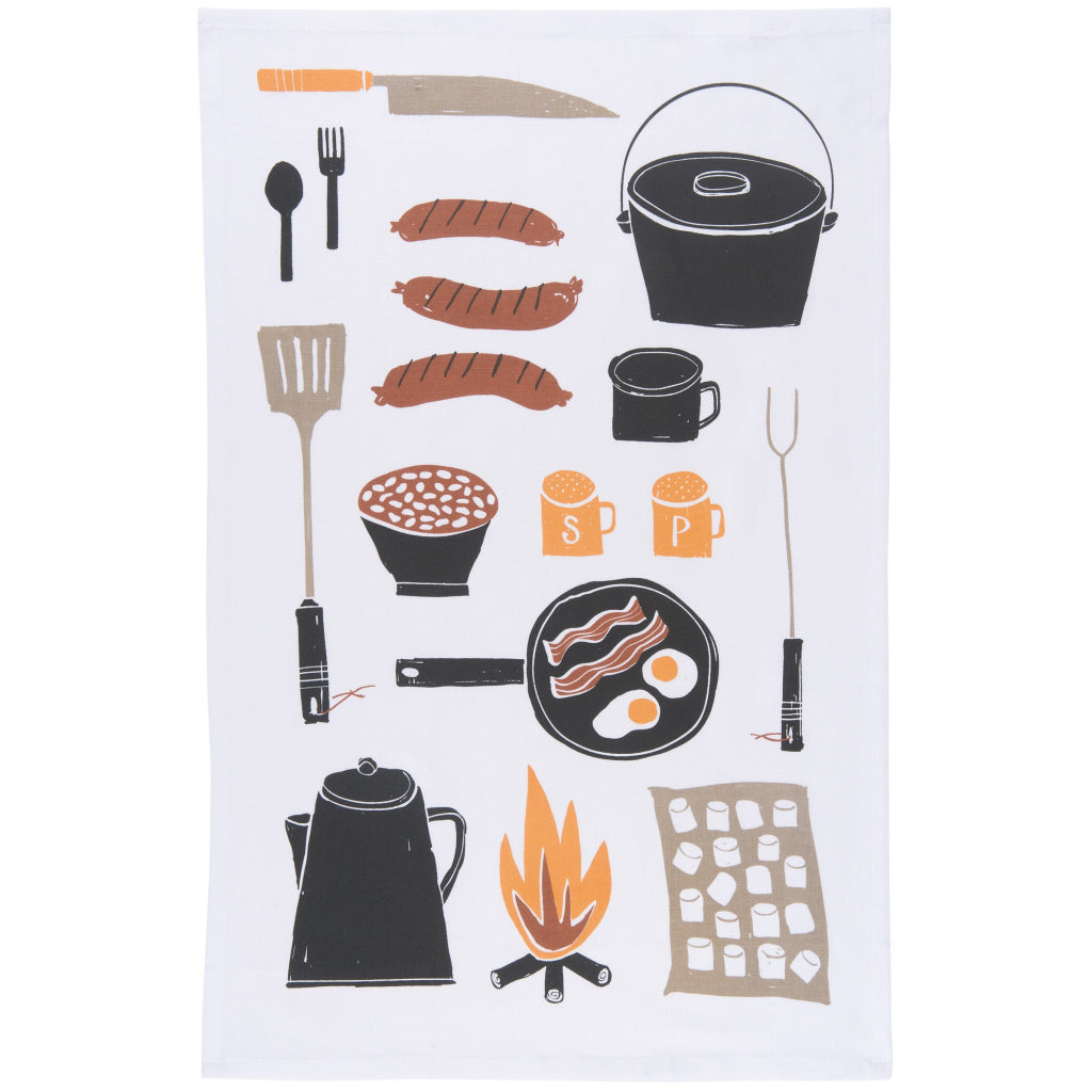 Sample of Camp Cookout Tea Towels Set of 2.