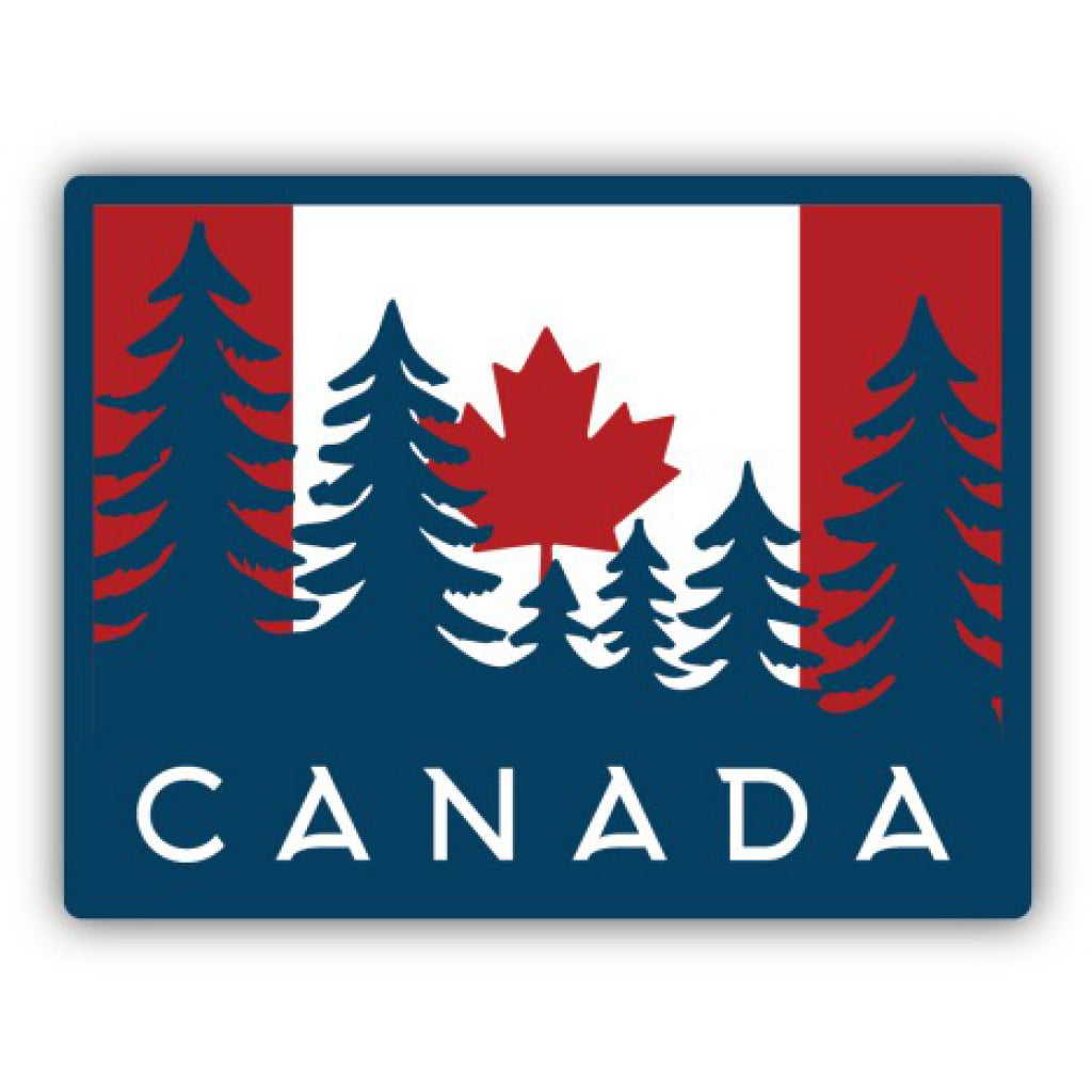 Canada Flag With Trees Sticker