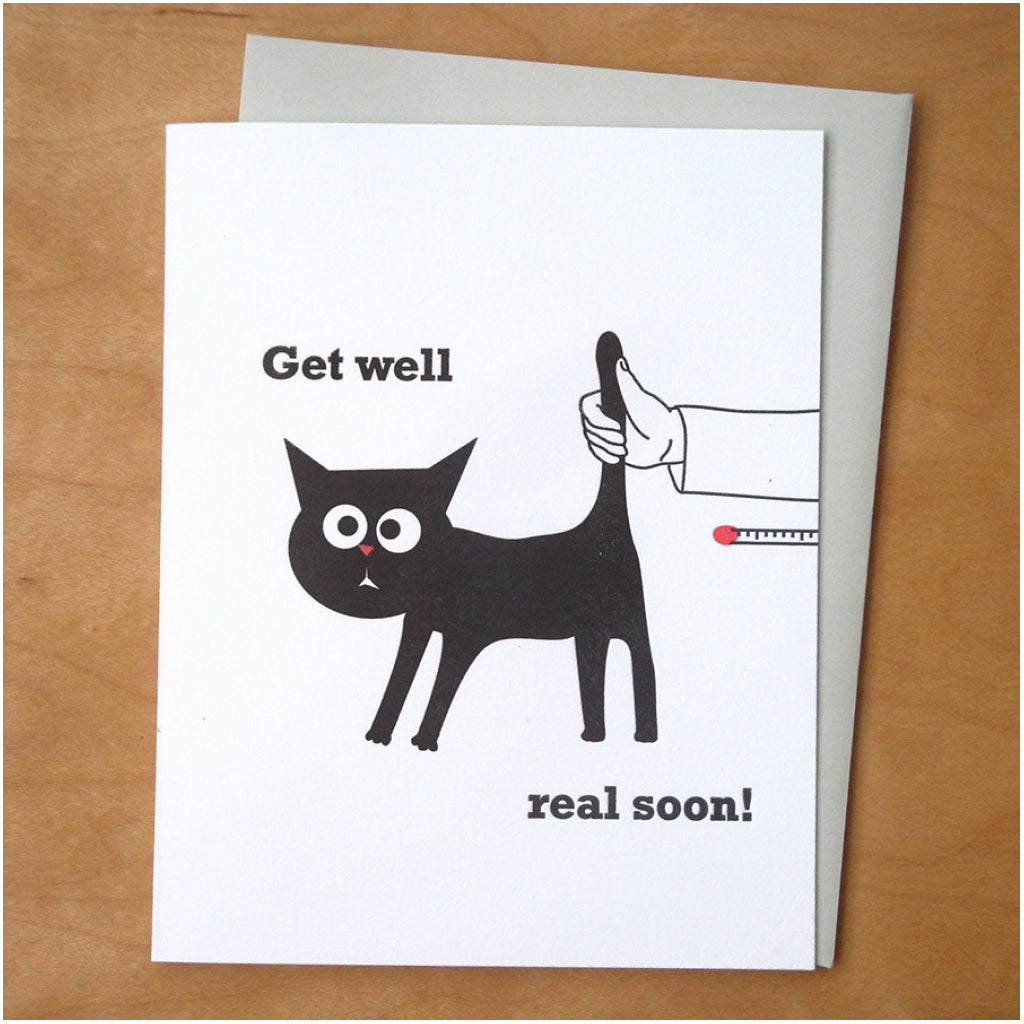 Cat Thermometer Get Well Card