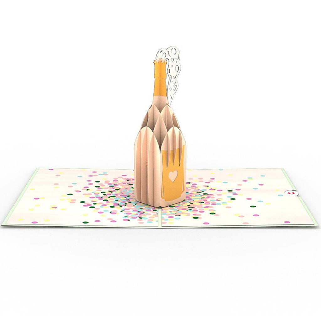 Champagne Pop 3D Pop Up Card Open