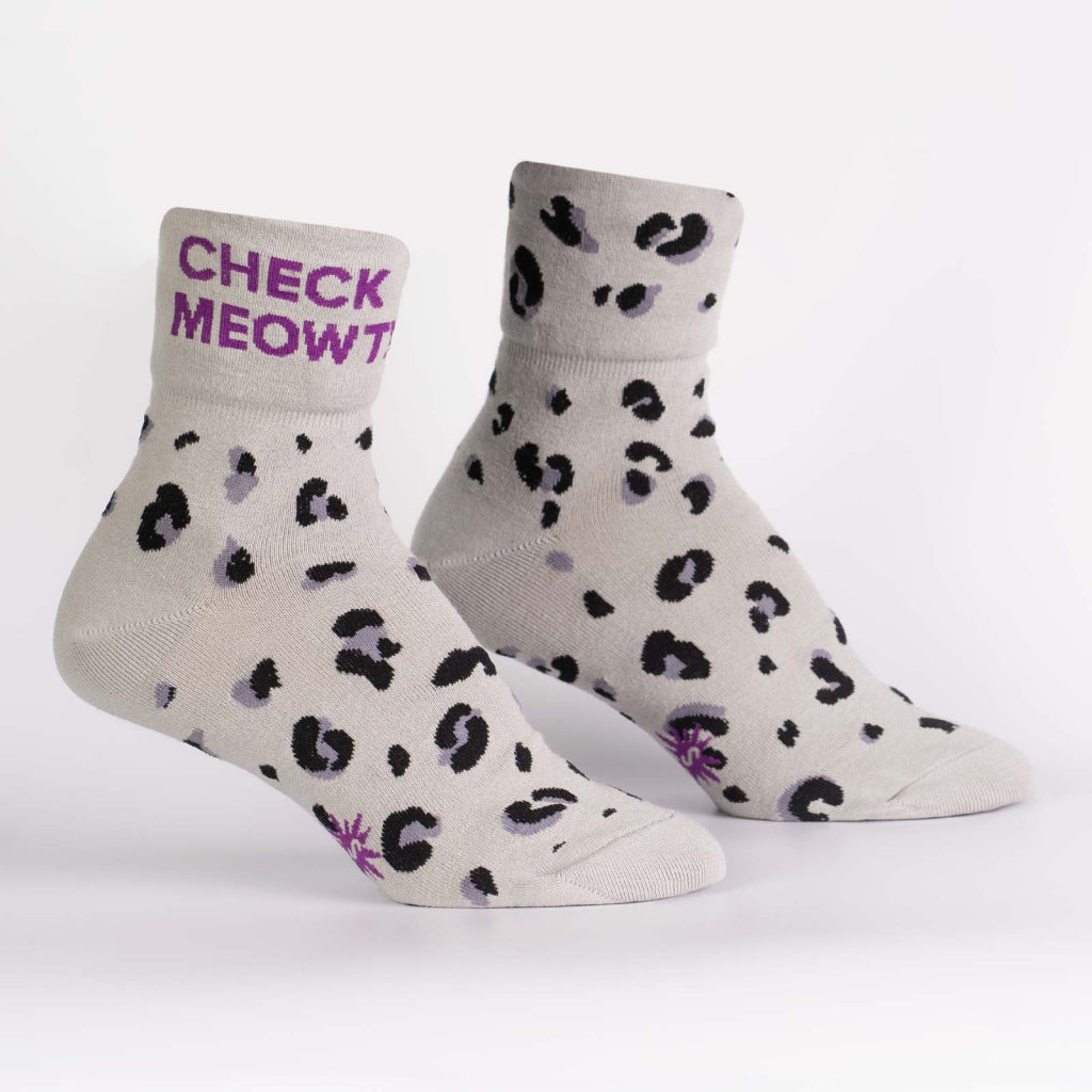 Check Meowt Quarter-Turn Cuff Women's Socks Rolled Up