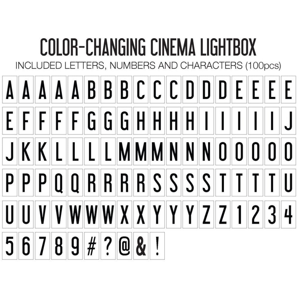 Accessories of Cinema Lightbox Original Colour Changing.