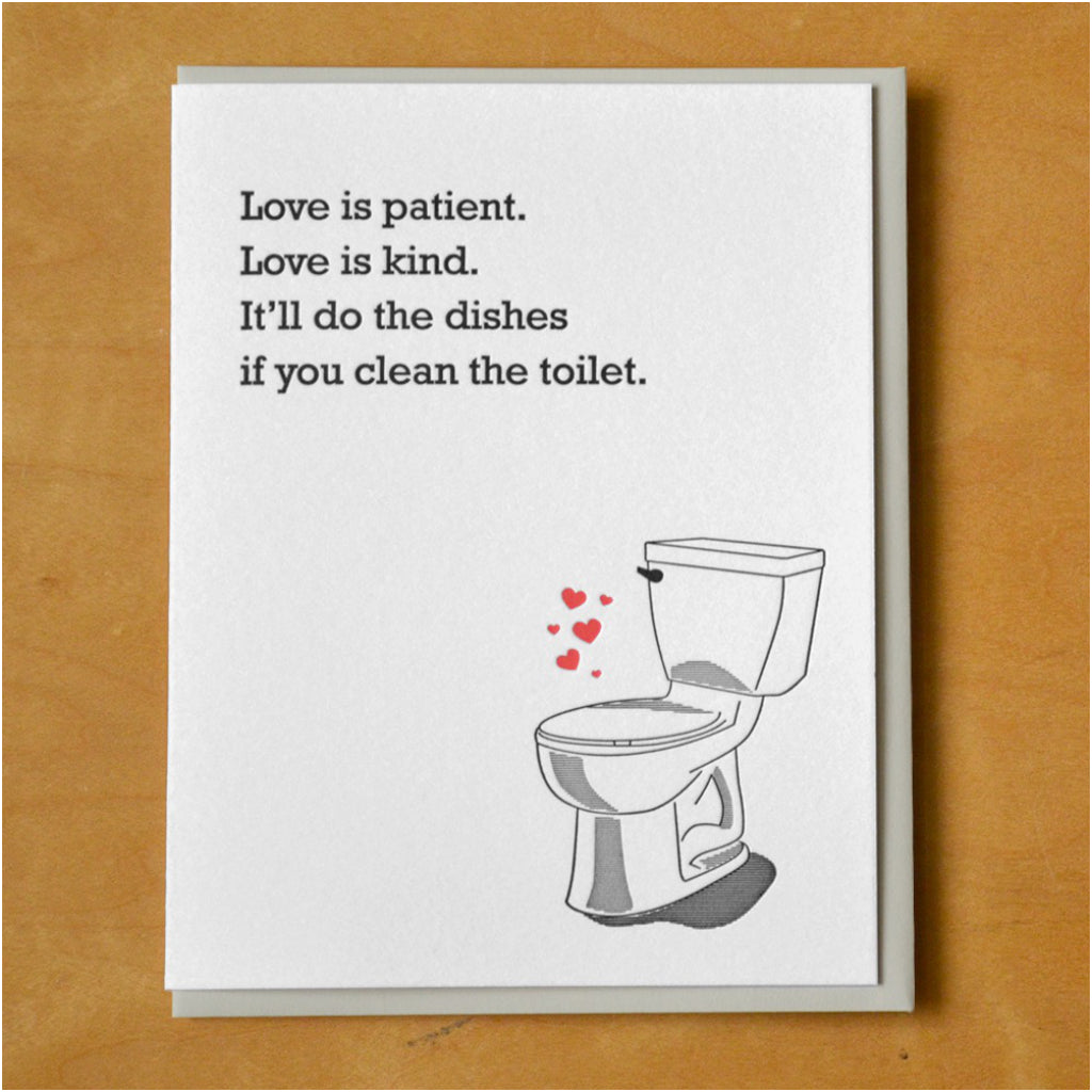 Clean The Toilet Love Card