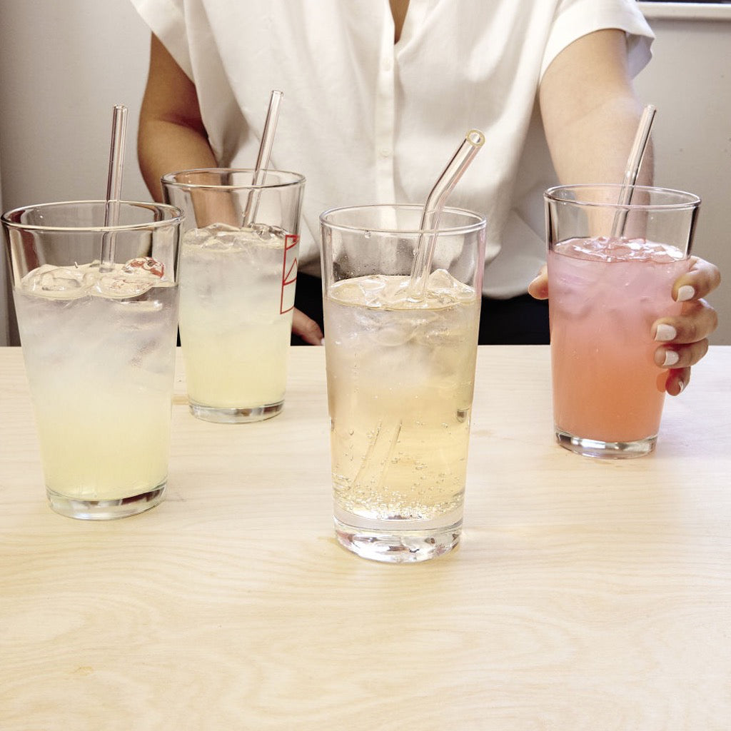 Clear Reusable Glass Straws In Use