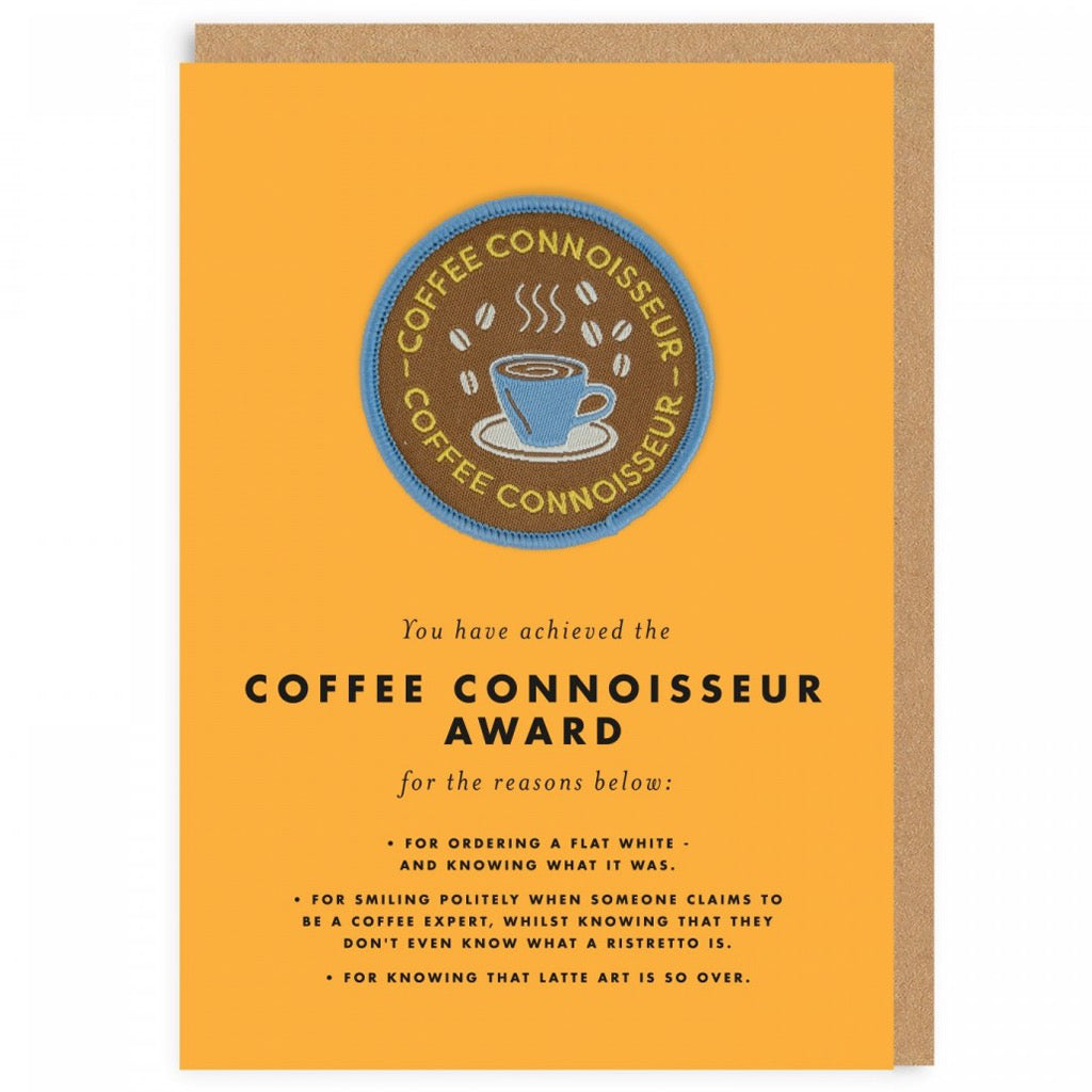 Coffee Connoisseur Award Patch Card