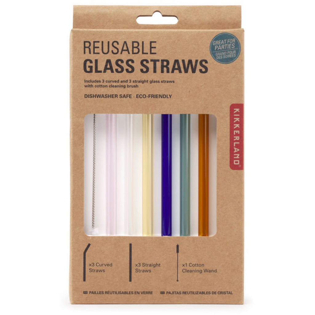 Color Reusable Glass Straws In Package