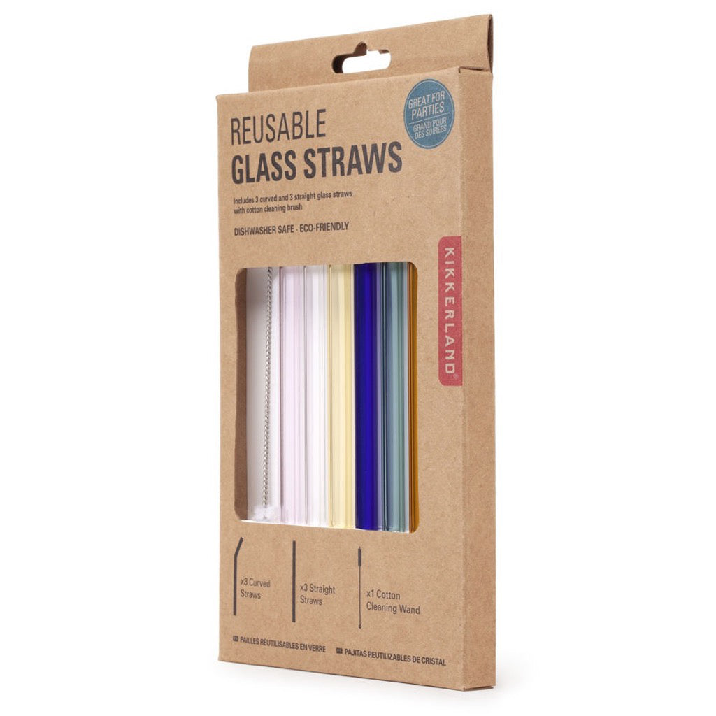 Color Reusable Glass Straws Package Side View