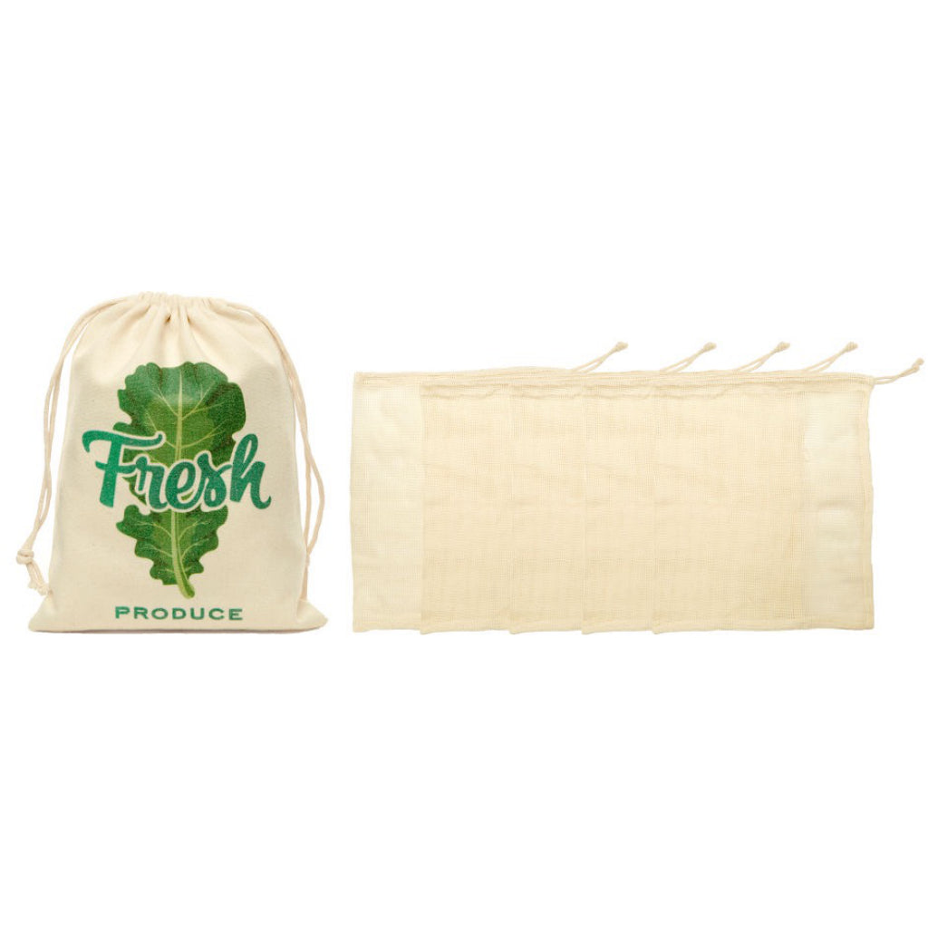 Cotton Mesh Produce Bags Set of 5