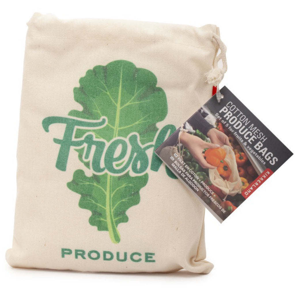 Cotton Mesh Produce Bags Set of 5 Packaged