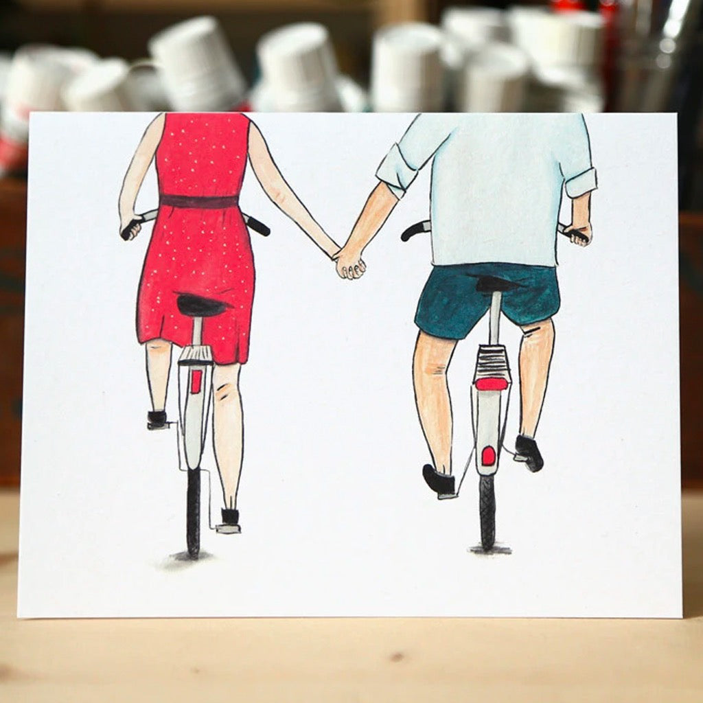 Couple On Bikes Love Card