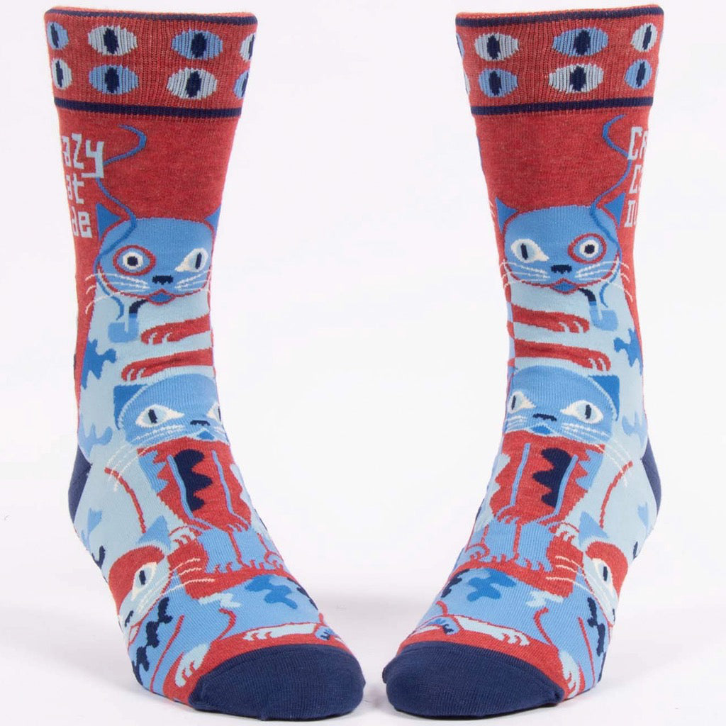 Front view of Crazy Cat Dude Men's Socks.