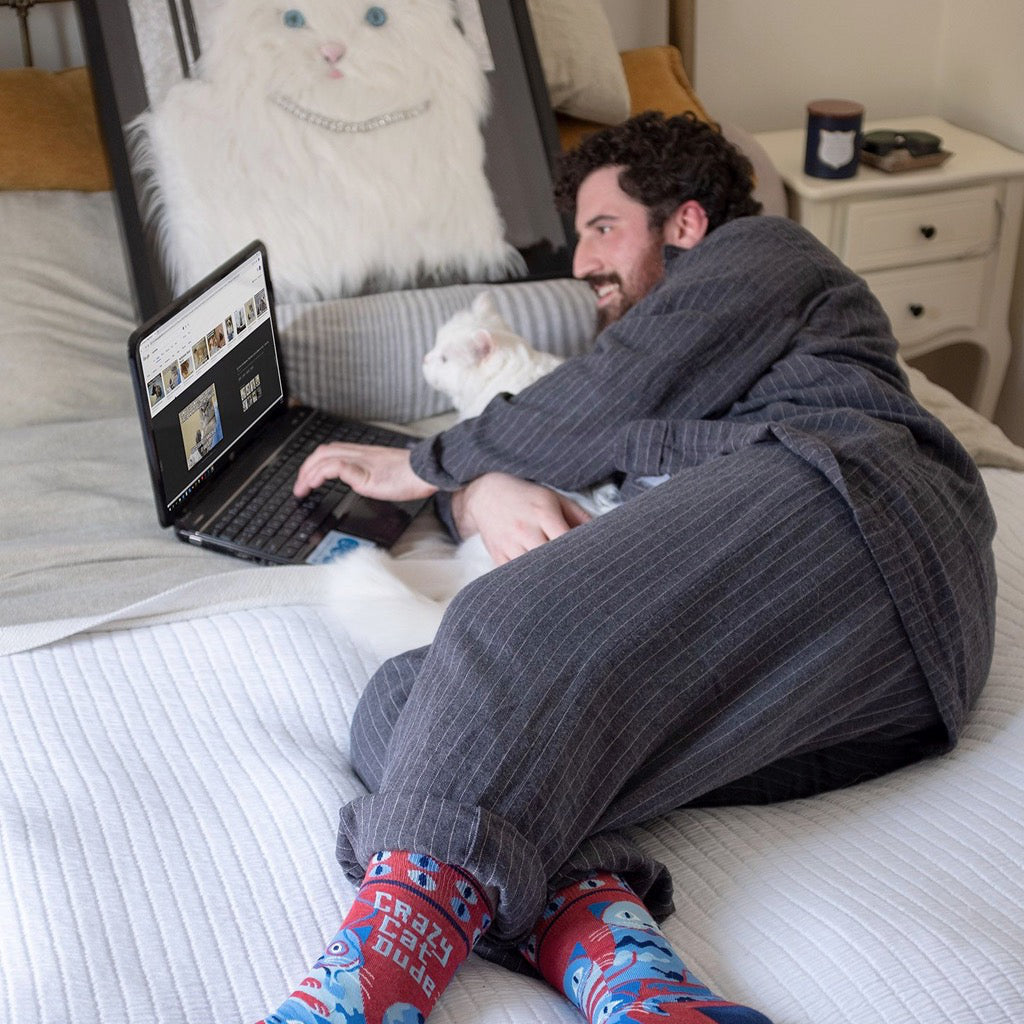 Lifestyle shot of Crazy Cat Dude Men's Socks.