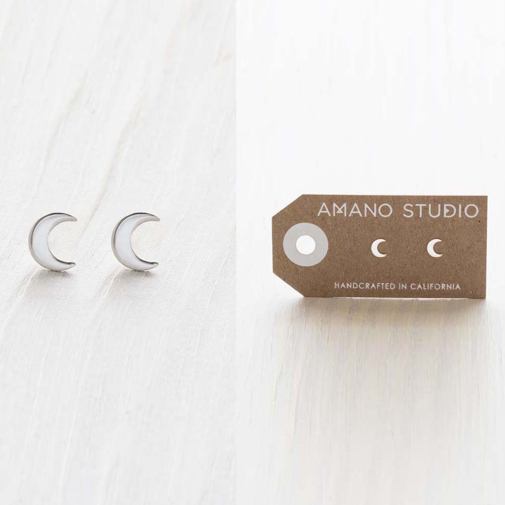 Crescent Moon Silver Studs
