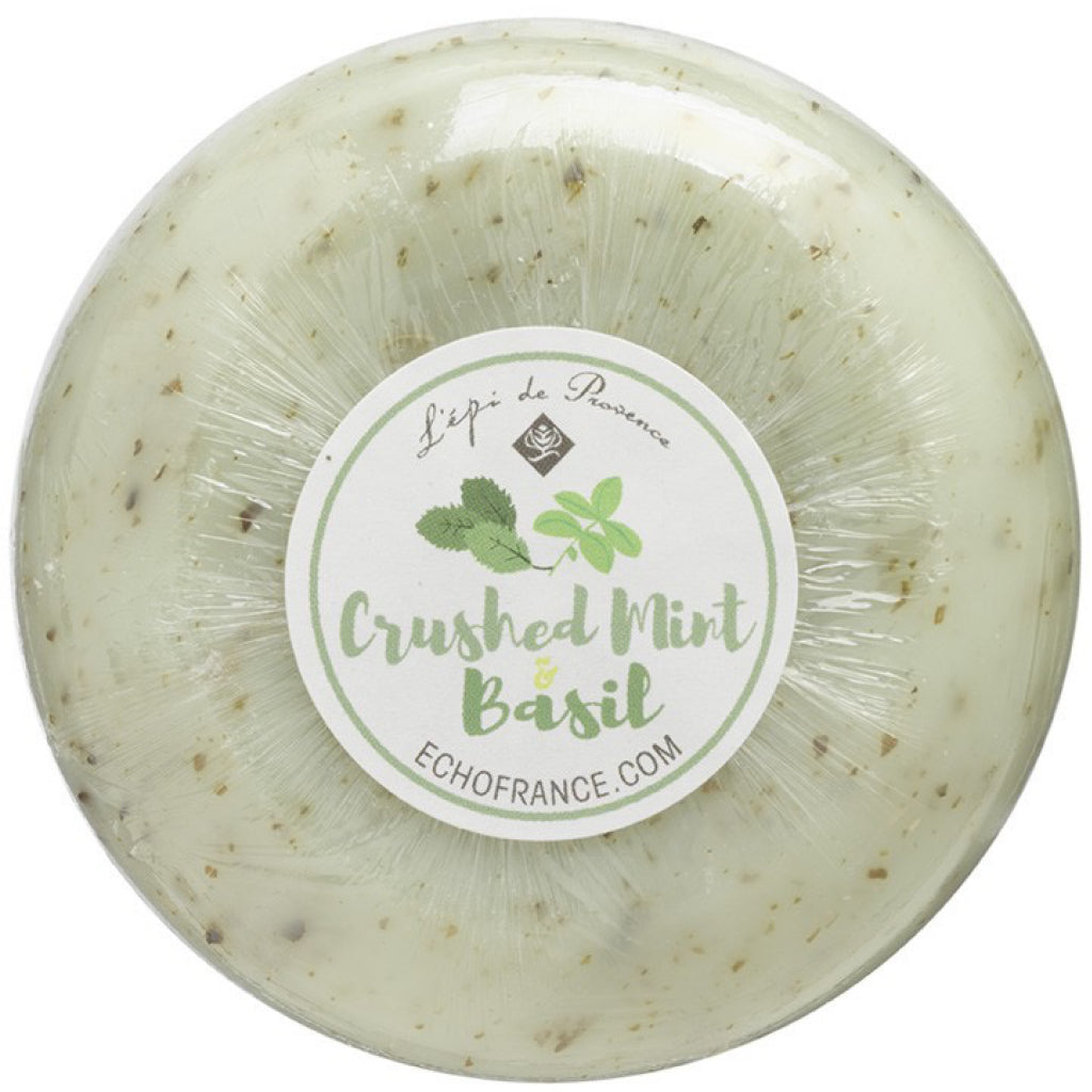 Crushed Mint & Basil 150g Round Soap.