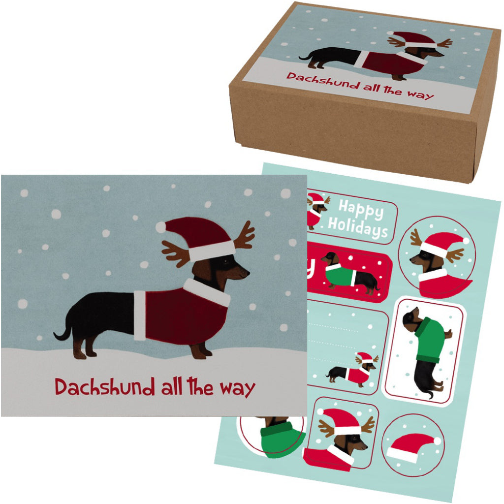 Dachshund All The Way Boxed Christmas Cards | Funny Canadian Cards ...