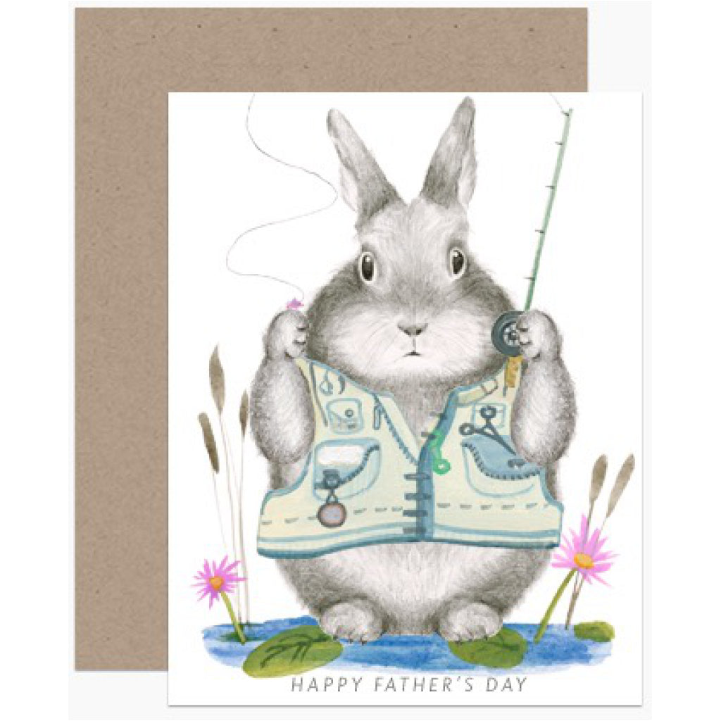 Dad Bunny Fishing Card
