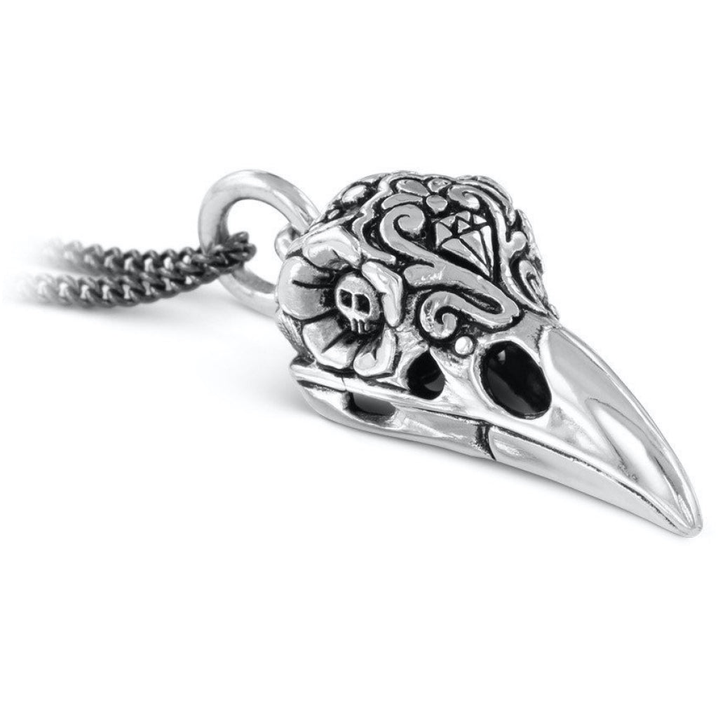 Day of the Dead Raven Skull Silver Necklace Closeup