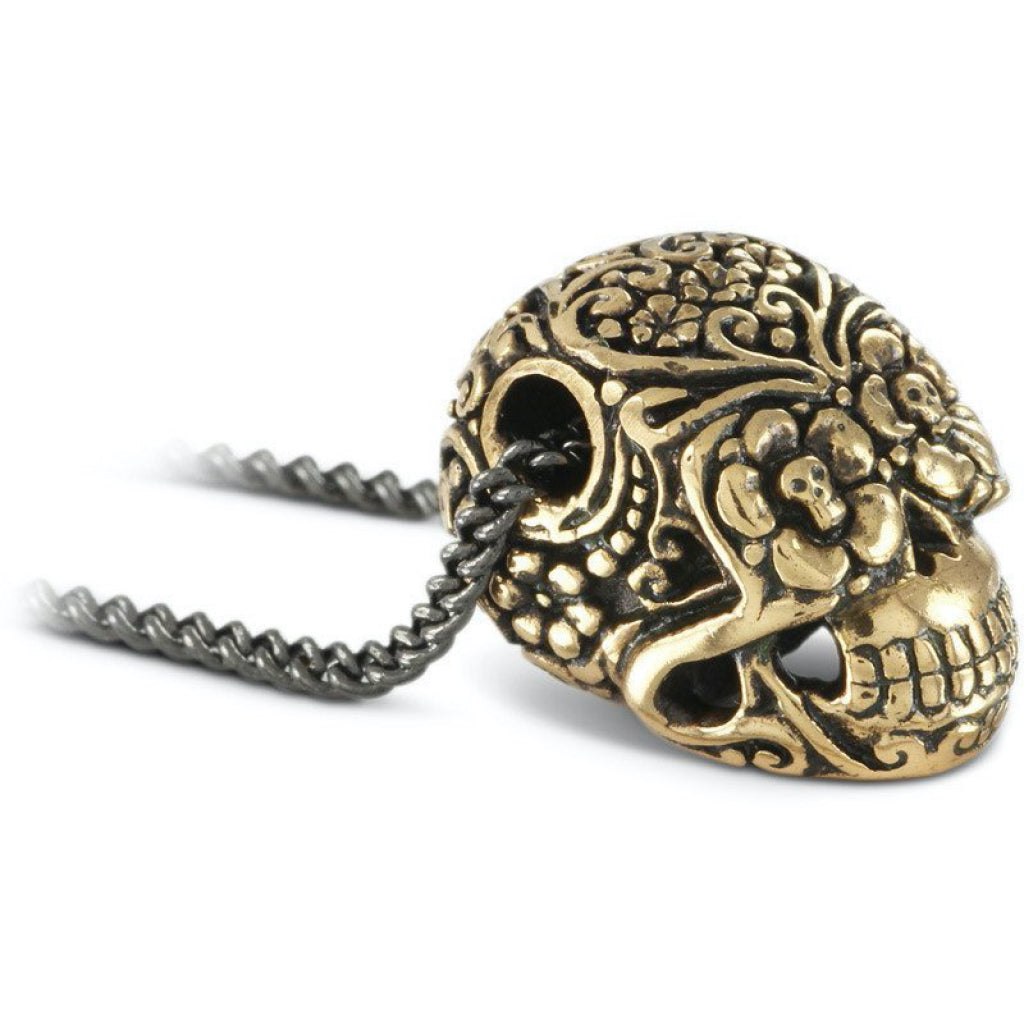 Day of the Dead Skull Large Bronze Necklace Closeup