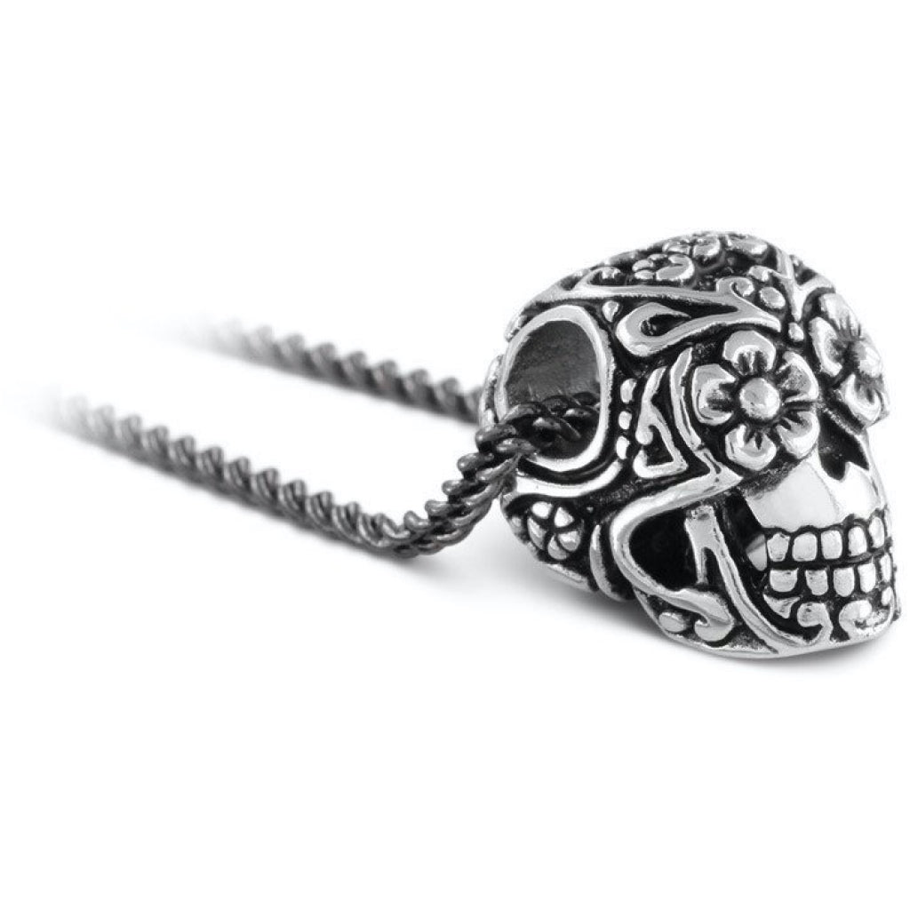 Day of the Dead Skull Small Silver Necklace Closeup