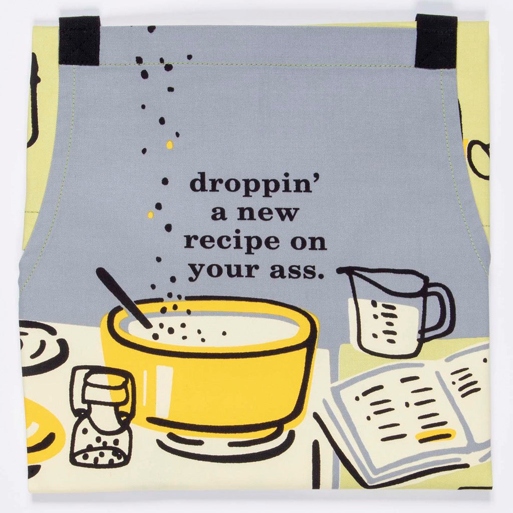 Detail of Droppin' A Recipe Apron.