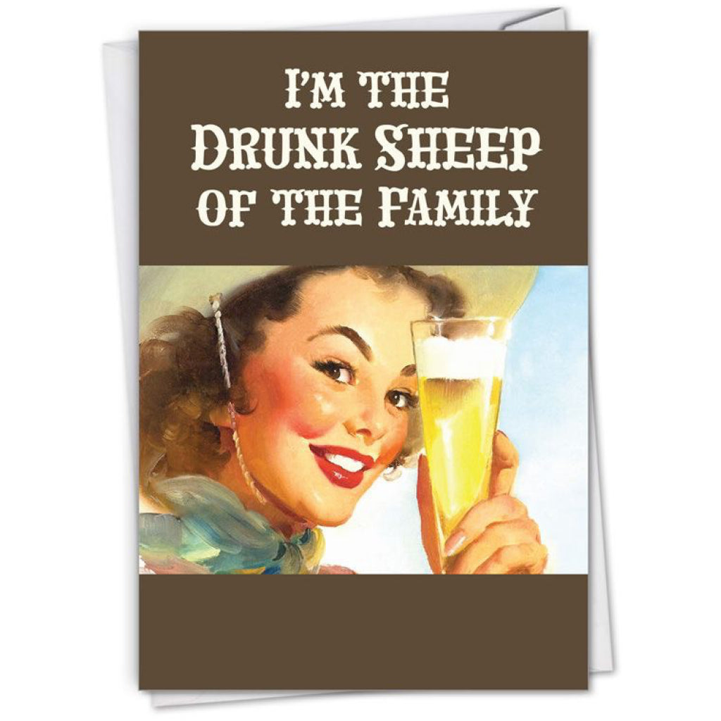 Drunk Sheep Of The Family Card