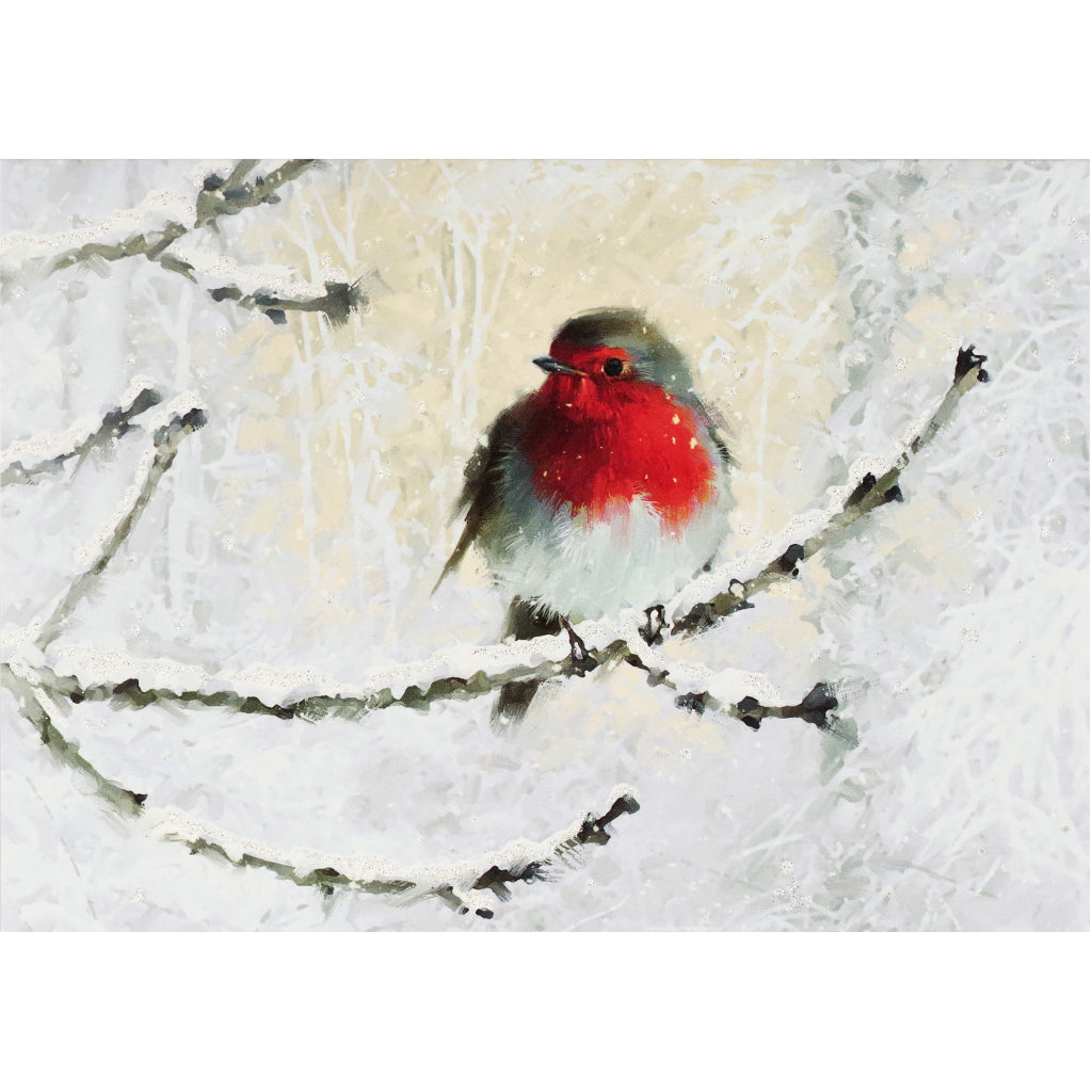 English Robin In Winter Deluxe Boxed Holiday Cards.
