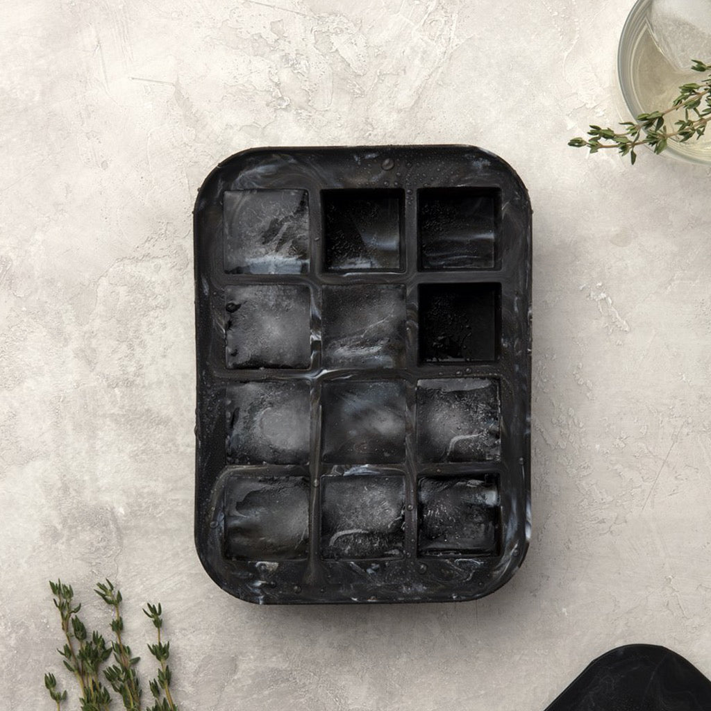 Everyday Marble Black Ice Tray In Use
