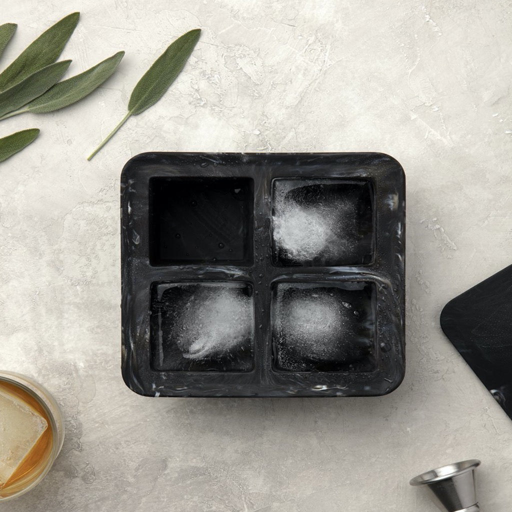 Extra Large Marble White Ice Cube Tray In Use