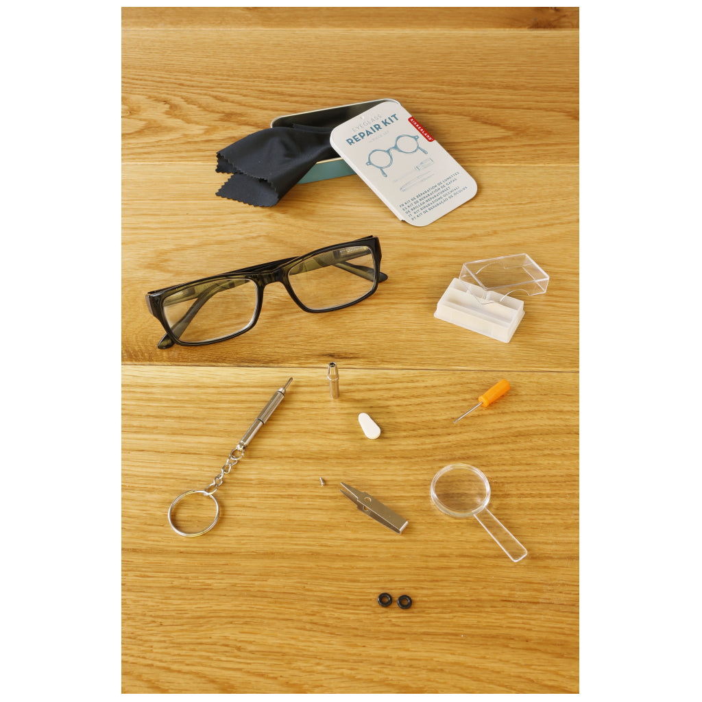 Eyeglass Repair Kit with glasses.