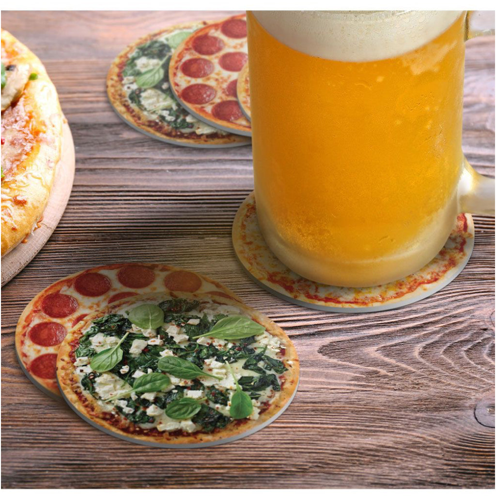 Hot & Fresh Pizza Coasters and beer.