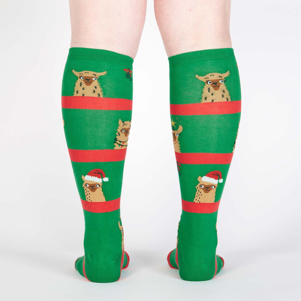 Back view of Fa La La Llamas Knee Socks.
