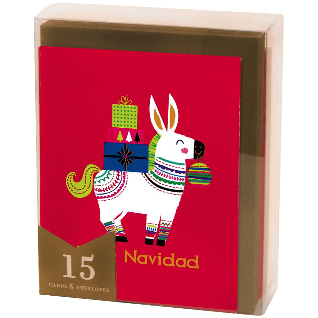 Packaging of Feliz Navidad Boxed Christmas Cards.