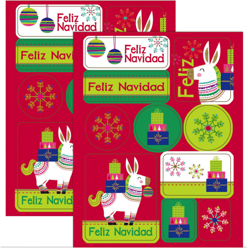 Stickers of Feliz Navidad Boxed Christmas Cards.