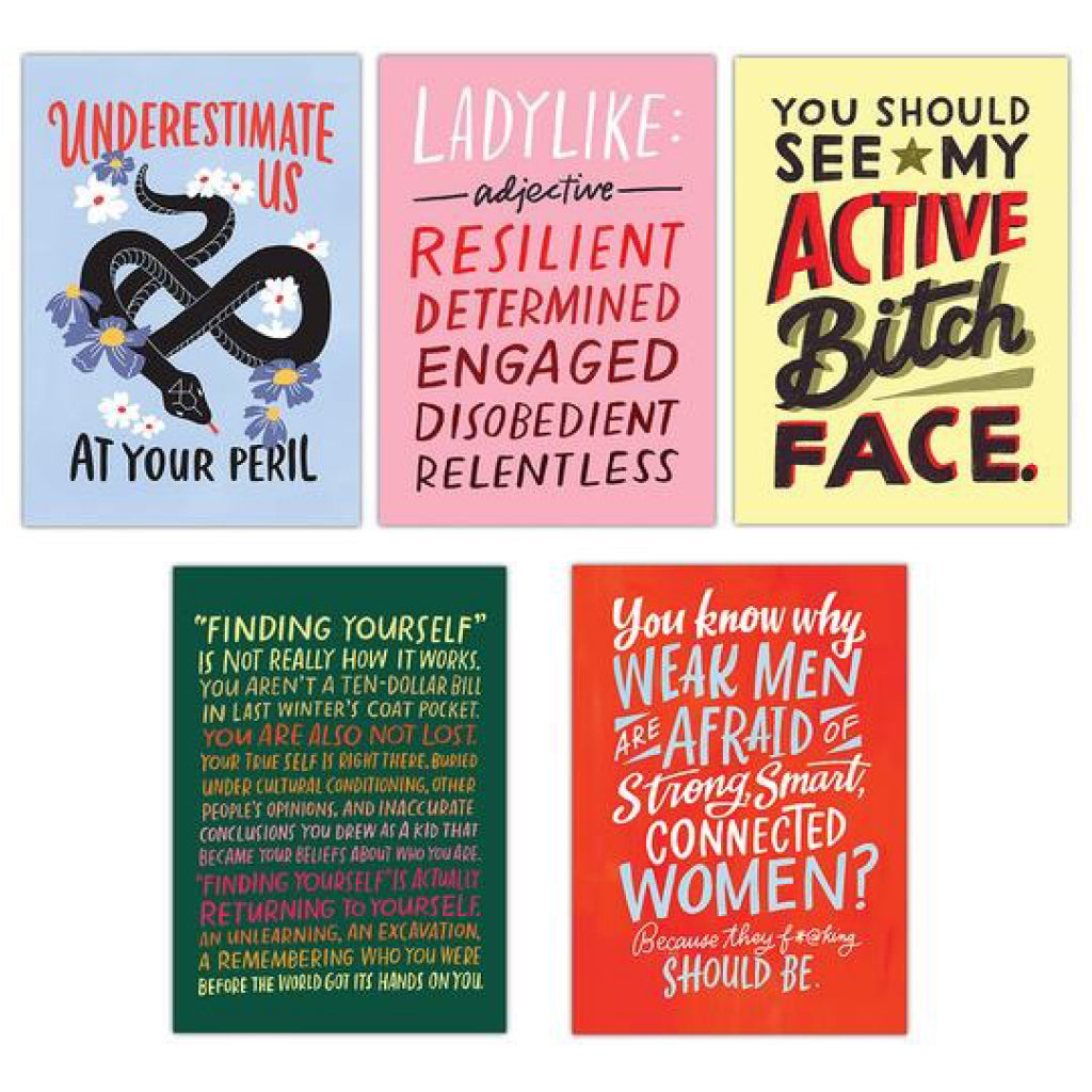 Examples of Feminism Postcard Book.