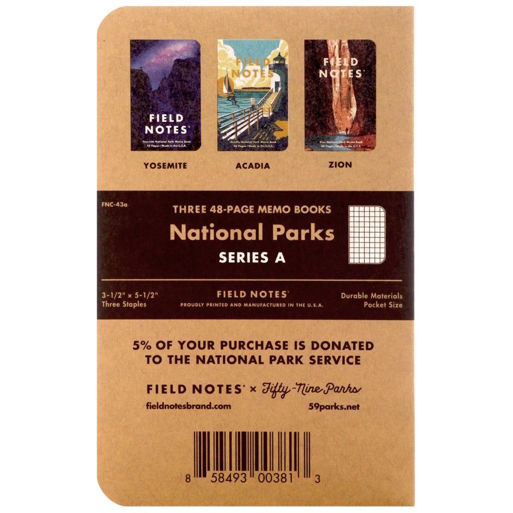 Field Notes National Parks Series A 3-Pack Notebooks Back