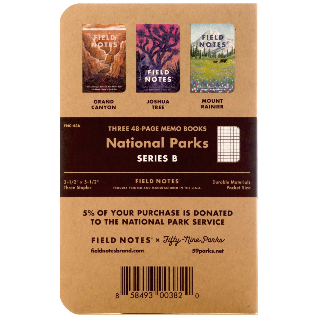 Field Notes National Parks Series B 3-Pack Notebooks Back