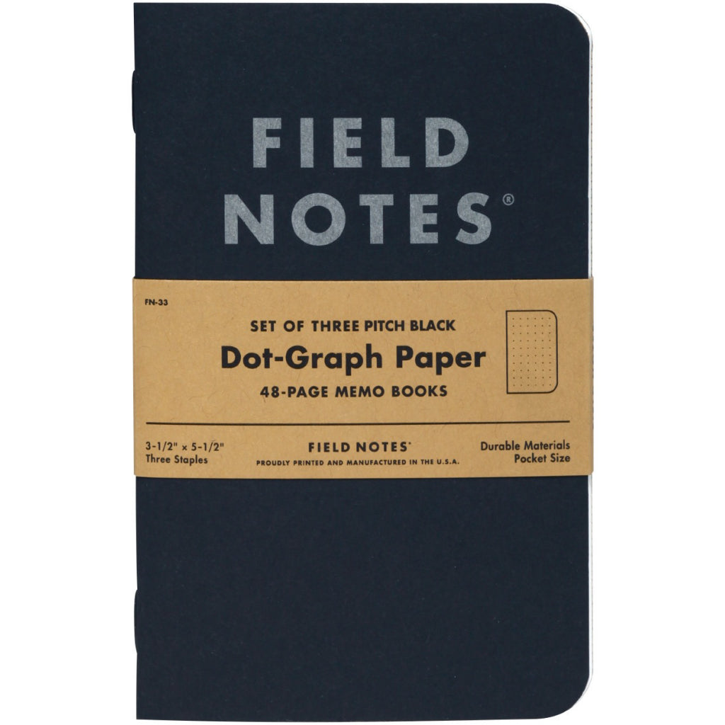 Field Notes Pitch Black Small Dot 3-Pack Notebooks