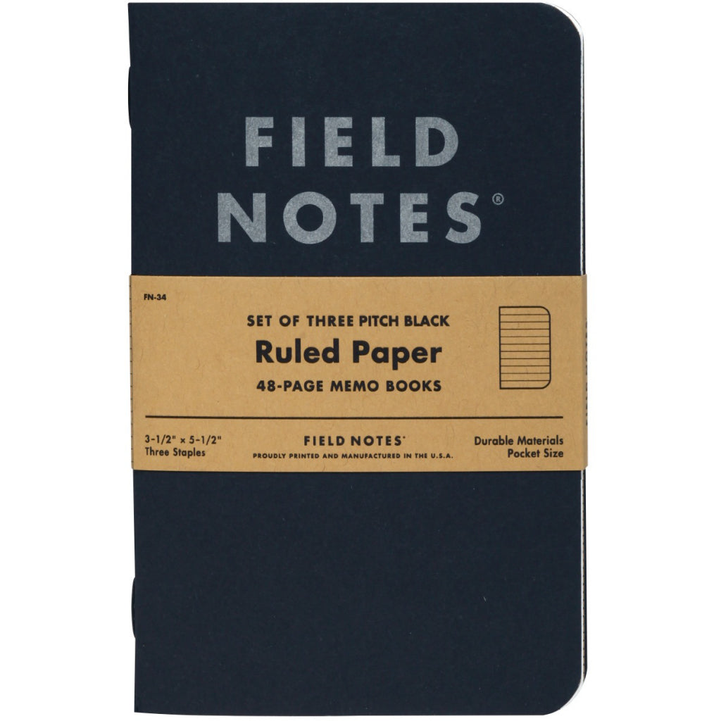 Field Notes Pitch Black Small Ruled 3-Pack Notebooks