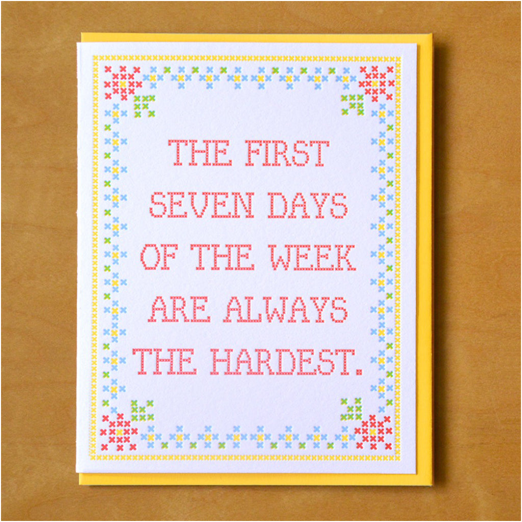 First Seven Days Of The Week Card