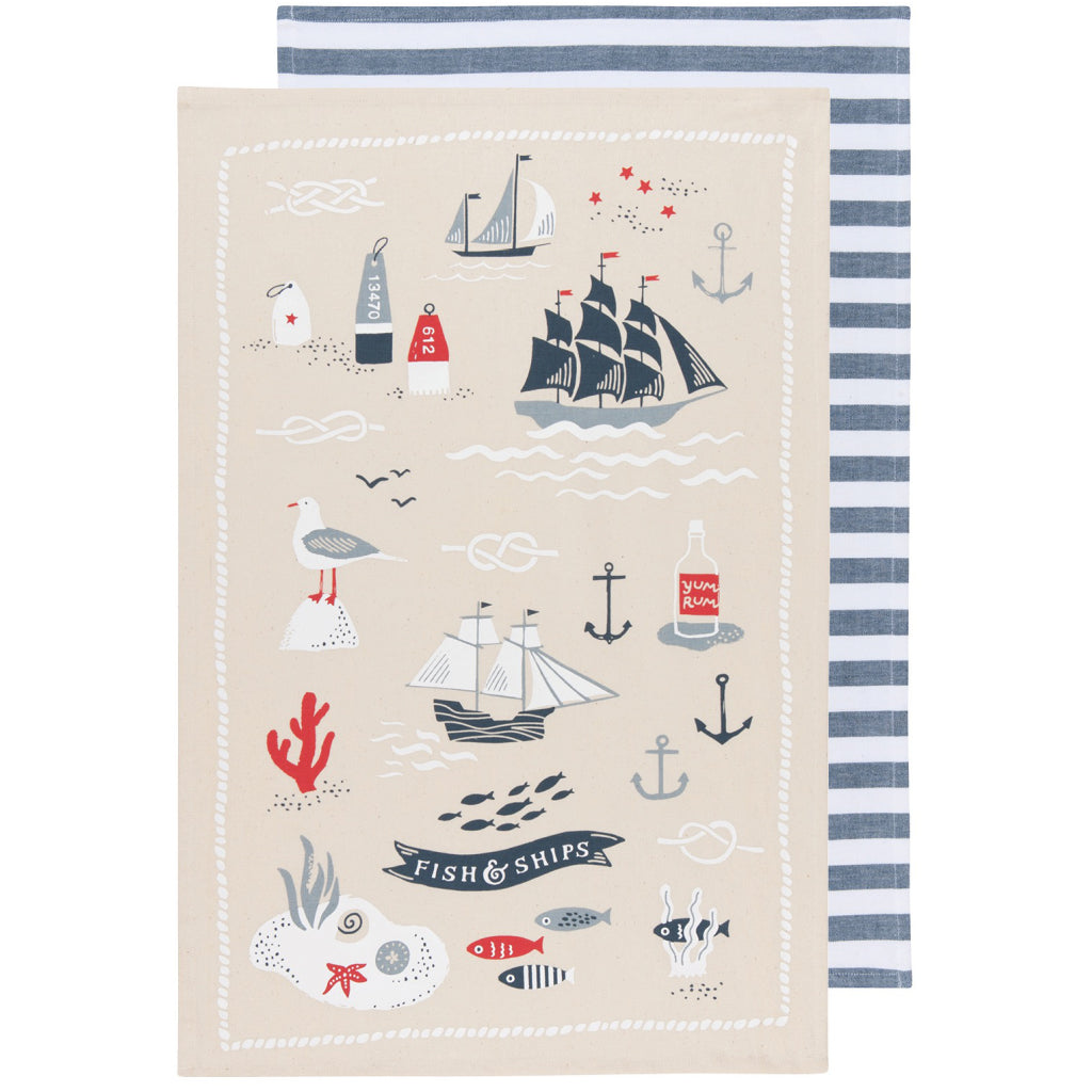 Fish & Ships Tea Towels Set of 2