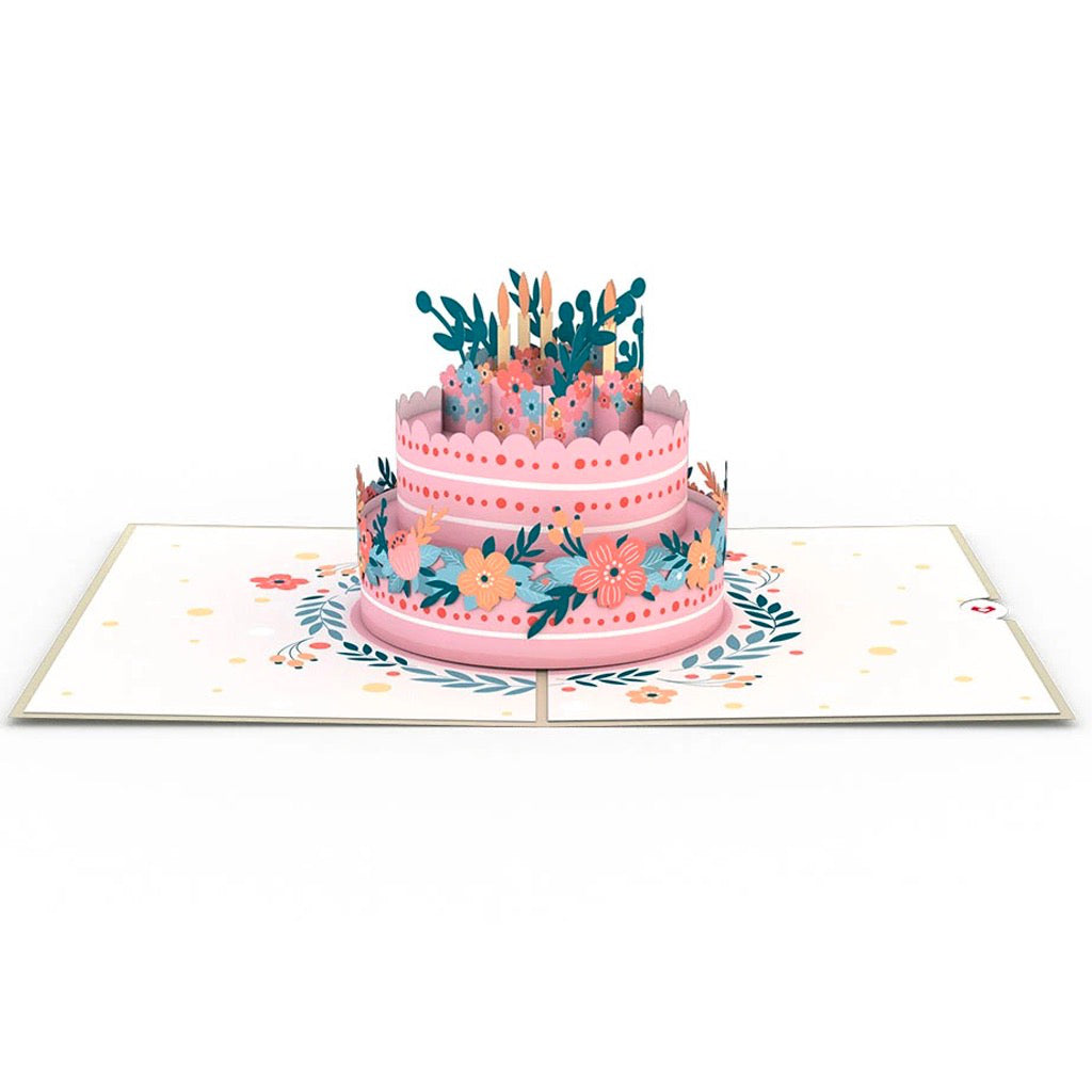 Fantastic Floral Birthday Cake 3D Pop Up Card By Lovepop Canada Funny Birthday Cards Online Chimdamsfinfo
